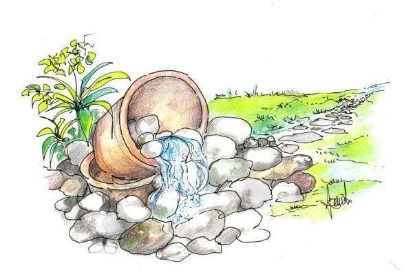 Piccola cascata con ciottoli in giardino come costruirla for Disegno giardini