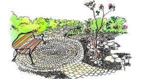 Progetto di terrazza circolare in giardino con mattoni e ghiaia