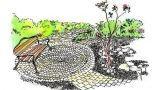 Terrazza circolare in giardino con mattoni e ghiaia: idea di progetto
