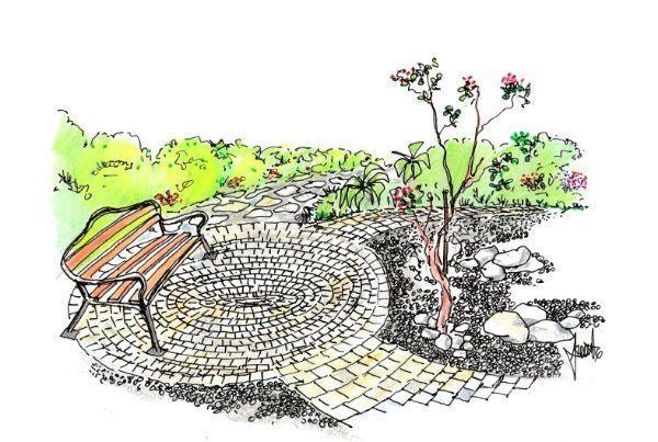 terrazza circolare in giardino con mattoni e ghiaia idea