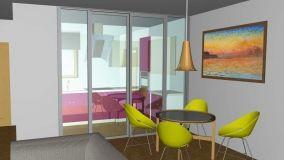 Progetto di separazione della cucina dal soggiorno con una parete vetrata