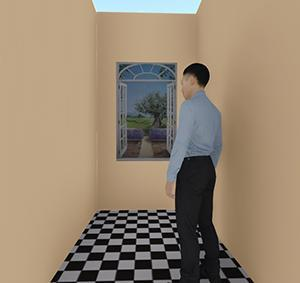 criteri e le regole per progettare gli spazi:L'inserimento di un trompe-d'oeil dimensionato con la regola della sezione aurea