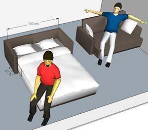 criteri e le regole per progettare gli spazi: un divano trasformabile