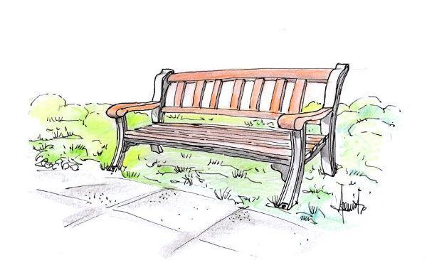 Disegno di panchina da giardino in legno e ghisa