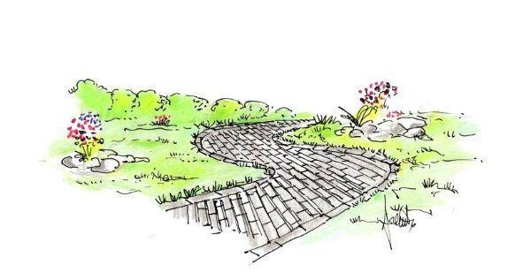 Disegno di vialetto pedonale in giardino
