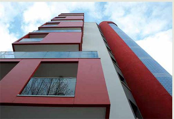 Le pitture silossaniche sono molto adatte agli edifici contemporanei. Da una brochure dell'Azienda Sigma.