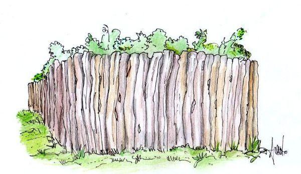 Disegno di staccionata informale con tronchi di legno