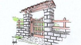 Progetto per un cancello in legno con pensilina