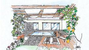 Progetto di terrazza con pergolato e piscina