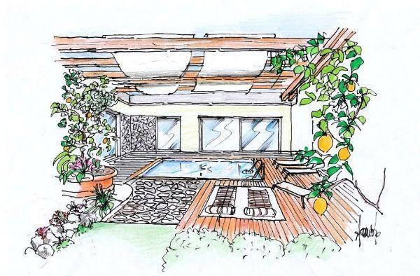 Disegno di terrazza con pergola e piscina