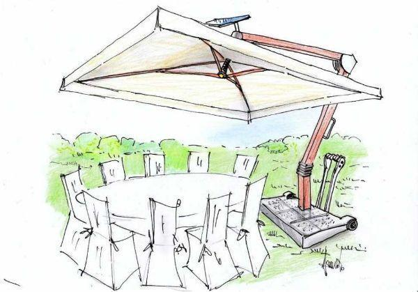 Disegno di ombrellone da giardino di moderna tecnologia