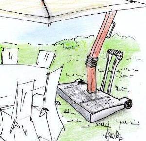 Disegno di base di sostegno stabile e movibile, per ombrellone