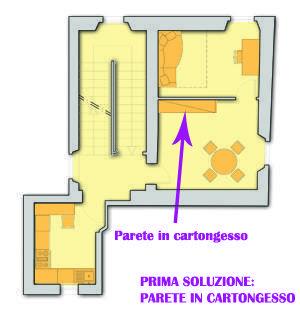 Progetto di camera nel soggiorno: soluzione con opere murarie