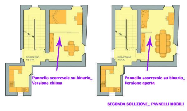Progetto di camera nel soggiorno con pannello scorrevole