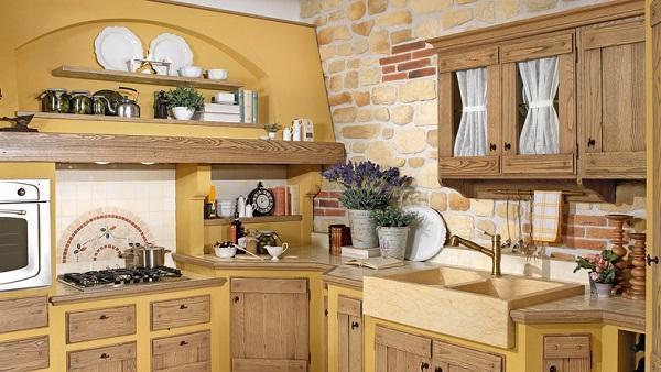 Cucine in legno ampia e la cucina ad angolo della - Cucine provenzali francesi ...
