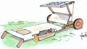 Progetto di lettino prendisole con tettuccio a pannelli solari
