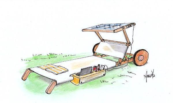 Disegno di lettino prendisole con telo a pannelli solari e accessori