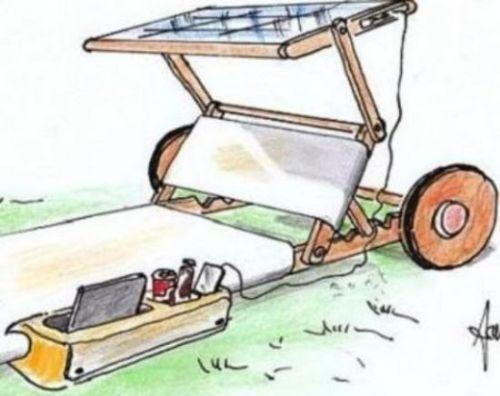Lettino con telino a pannelli solari e contenitore multiuso