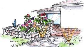 Progetto di terrazza con fioriere e panca in pietra naturale