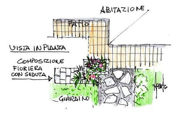 Pianta di terrazza con fioriere in pietra naturale