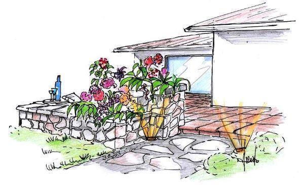 Disegno prospettico di terrazza con fioriere in pietra