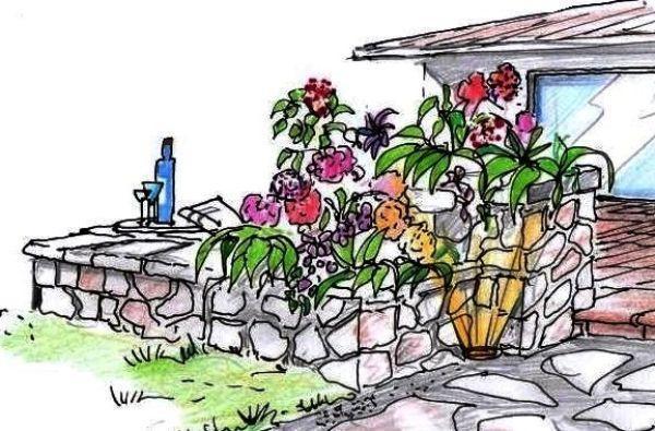 La fioriera pi? bassa si prolunga sulla sinistra verso il giardino ...