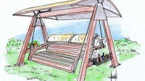 Soluzione progettuale per dondolo da giardino in legno