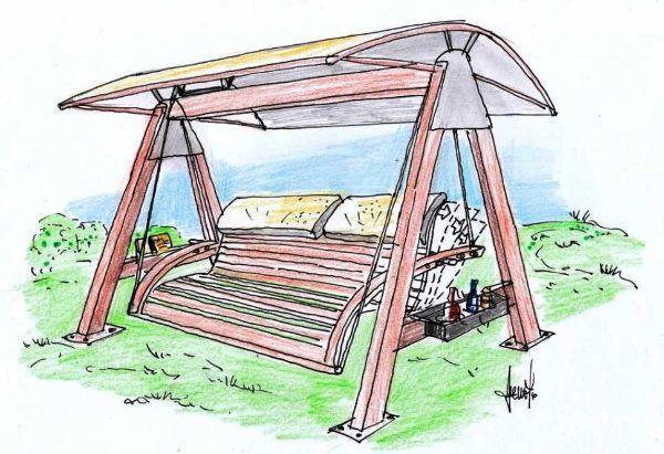 Disegno per dondolo da giardino in legno e acciaio