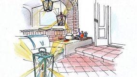 Una terrazza all'orientale con portico e salotto in muratura