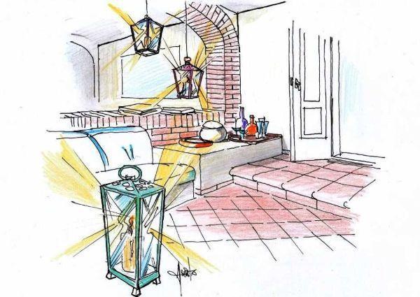 Disegno di terrazza con porticato di muratura in mattoni a vista