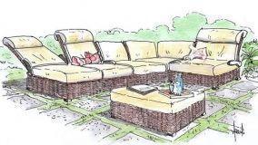 Idea per un salotto angolare da esterno in rattan naturale