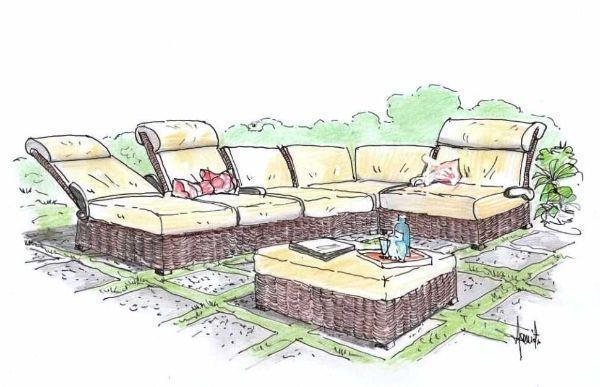 Disegno di salotto componibile in rattan per l'outdoor