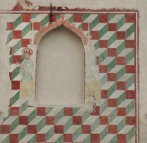 Casa di Spilimbergo con facciata decorata da motivi geometrici (probabilmente fine XIV-inizio XV secolo).