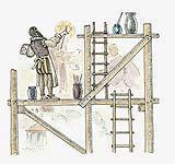 Anche nella decorazione a fresco-secco di usano comunemente impalcature e ponteggi.