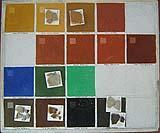 Alcuni colori ottenibili con i pigmenti minerali utilizzati nella pittura a calce.