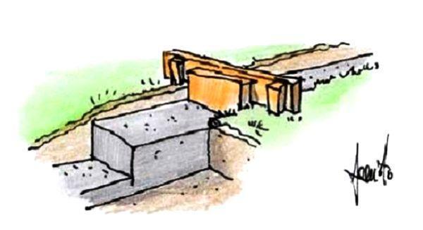 Disegno di fondazione per muretto su pendio