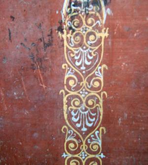 Particolare di una decorazione parietale di Pompei probabilmente rifinita a encausto.