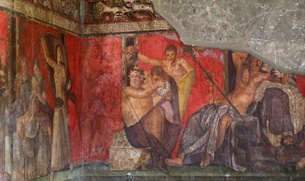 Decorazione parietale proveniente da Pompei, secondo alcune ipotesi realizzata a encausto.