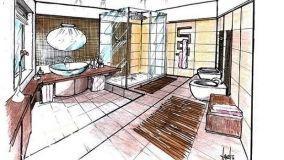 Bagno con rivestimenti in mosaico: progetto a tre livelli