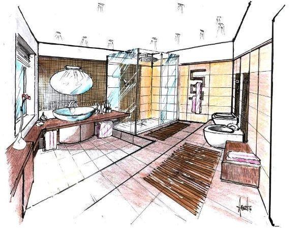Disegno di bagno con pedana e rivestimenti in mosaico