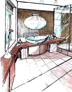 Disegno zona lavabo con mosaico tutta parete e arredi in legno