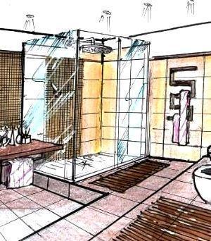 Disegno box doccia con mosaico e ante cristallo