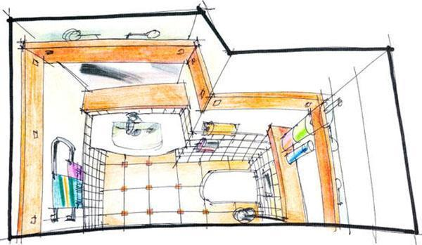 Progetto per un piccolo bagno a servizio unicamente della zona giorno (bagno per ospiti).