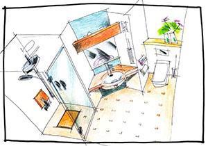 Esempio di progetto per un bagno padronale.