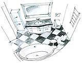 Progetto di un bagno classico o tradizionale.