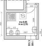 Il bagno di un appartamento con disposizione ottimale dei sanitari.