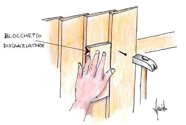 Disegno fissaggio tavole verticali con blocchetto distanziatore