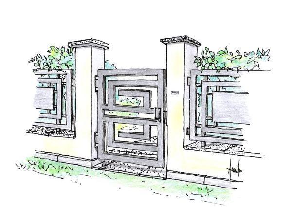 Disegno di cancello in metallo per l'ingresso pedonale