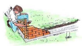 Muretto angolare a una testa: costruzione fai da te