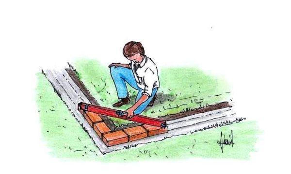 Disegno illustrante una fase di costruzione del muretto ad angolo